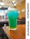 refreshing blue hawaii cocktail ... | Shutterstock . vector #1345463045