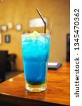refreshing blue hawaii cocktail ... | Shutterstock . vector #1345470362