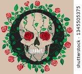 skull  roses  gothic | Shutterstock .eps vector #1345505375