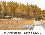 View to the sea, coast and wooden walkway, Linlo, Finland