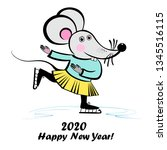 cute little mouse is skating.... | Shutterstock .eps vector #1345516115