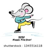cute little mouse is skating.... | Shutterstock .eps vector #1345516118