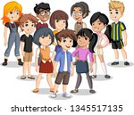 group of cartoon young children.... | Shutterstock .eps vector #1345517135