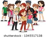 group of cartoon young children.... | Shutterstock .eps vector #1345517138