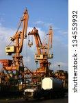 photo of cranes in the harbour | Shutterstock . vector #134553932