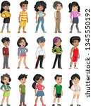 group of cartoon black children.... | Shutterstock .eps vector #1345550192