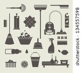 vector set of stylized cleaning ... | Shutterstock .eps vector #134557598