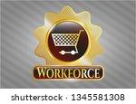 golden emblem or badge with... | Shutterstock .eps vector #1345581308