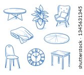 set of furniture shop objects... | Shutterstock .eps vector #1345631345