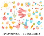 happy easter vector set. cute... | Shutterstock .eps vector #1345638815