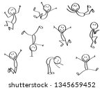 set of stick men in crazy moves.... | Shutterstock .eps vector #1345659452