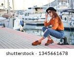 young beautiful happy girl... | Shutterstock . vector #1345661678