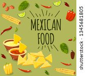 mexican food banners. vector...   Shutterstock .eps vector #1345681805