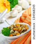 meat stew with mushrooms and... | Shutterstock . vector #134568245