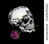 hand drawn skull with rose on... | Shutterstock .eps vector #1345690562