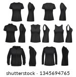 women clothes isolated mockups. ... | Shutterstock .eps vector #1345694765