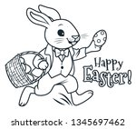 easter bunny running with... | Shutterstock .eps vector #1345697462