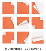 orange set of note paper with... | Shutterstock .eps vector #134569946