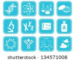 set of twelve white molecular... | Shutterstock .eps vector #134571008