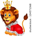 Stock vector cartoon lion in king outfit 134571368