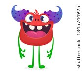 cute cartoon excited smiling... | Shutterstock .eps vector #1345744925