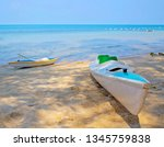 kayak on the chuong vich beach... | Shutterstock . vector #1345759838