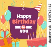 happy birthday greeting card.... | Shutterstock .eps vector #1345763462