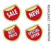 red gold star sticker set | Shutterstock .eps vector #134576936