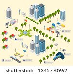 cityscape design elements with... | Shutterstock .eps vector #1345770962