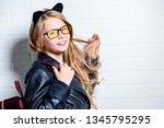 a portrait of a bright cute... | Shutterstock . vector #1345795295