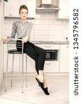 fashion shot. beautiful female... | Shutterstock . vector #1345796582
