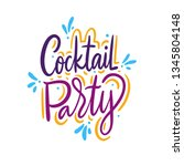 cocktail party hand drawn... | Shutterstock .eps vector #1345804148