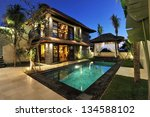 modern tropical villa with... | Shutterstock . vector #134588102