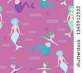 seamless mermaid childish... | Shutterstock .eps vector #1345912535