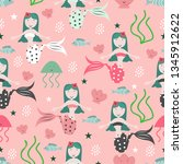 seamless mermaid childish... | Shutterstock .eps vector #1345912622
