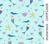 seamless mermaid childish... | Shutterstock .eps vector #1345912628