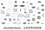 pencil doodle different circles.... | Shutterstock .eps vector #1345944608