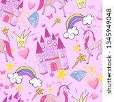 princess seamless pattern for... | Shutterstock .eps vector #1345949048