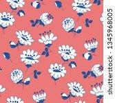 white flowers hand drawn vector ...   Shutterstock .eps vector #1345968005