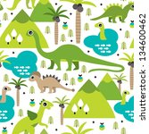 Stock vector seamless baby dinosaur animal illustration background pattern in vector 134600462