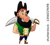 cartoon pirate with a saber on... | Shutterstock .eps vector #1346019698
