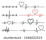heartbeat  vector rhythm with... | Shutterstock .eps vector #1346022515