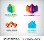 vector set of houses  real... | Shutterstock .eps vector #1346026592