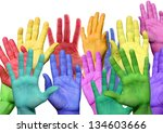 Many Colorful Hands Waving And...