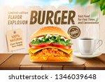 delicious fried chicken burger...   Shutterstock . vector #1346039648