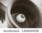 airplane engine and wing detail....   Shutterstock . vector #1346044358