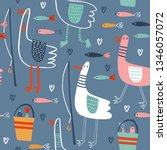 seamless vector pattern with... | Shutterstock .eps vector #1346057072