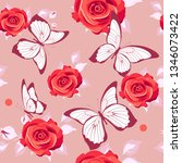 pattern beautiful roses and ...   Shutterstock . vector #1346073422