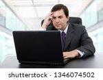 pensive business man working... | Shutterstock . vector #1346074502