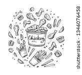 chicken wings. fast food set....   Shutterstock .eps vector #1346076458